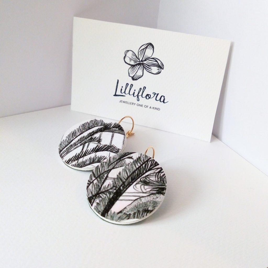 orecchini bianco nero lilliflora