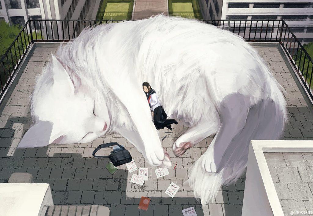 white cat monokubo artist illustration japanese
