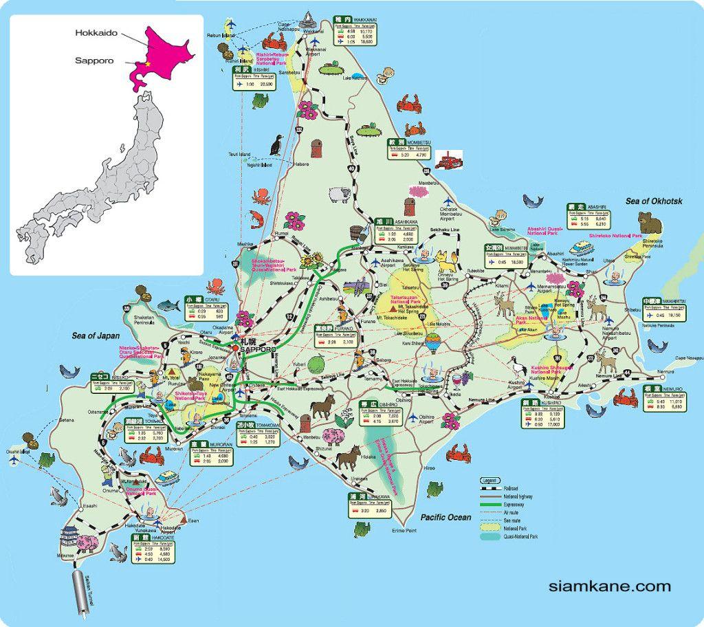 Mappa Hokkaido Giappone
