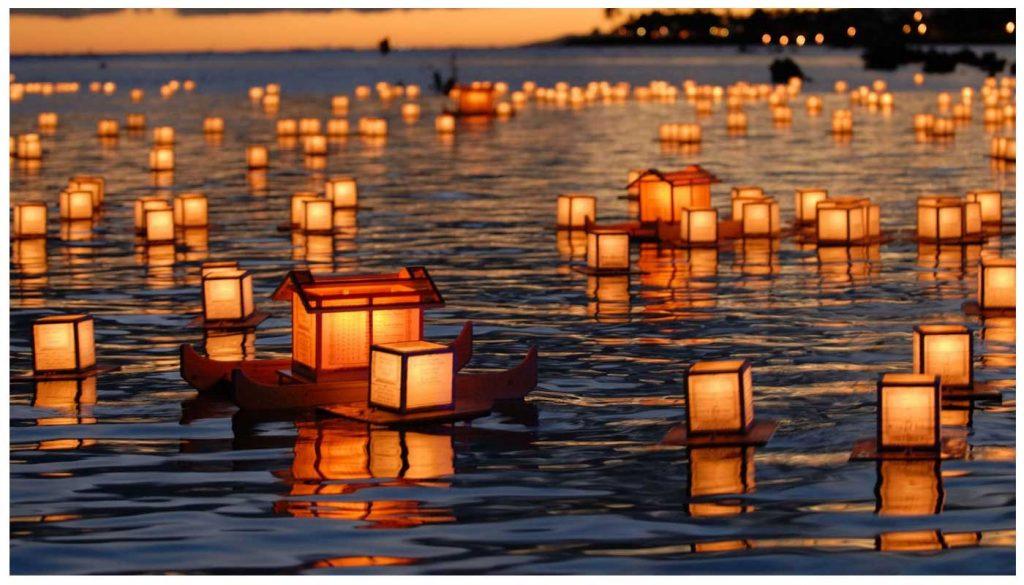 Obon lantern river water Japan