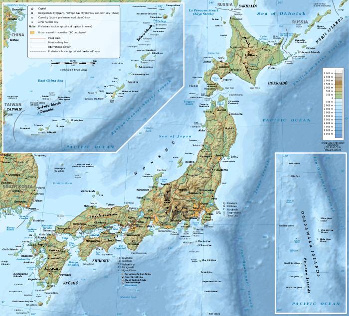 cartina geografica giappone japan
